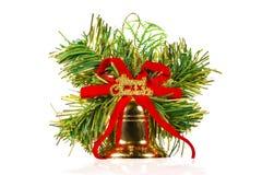 Una campana de la Navidad con los ornamentos Fotos de archivo libres de regalías