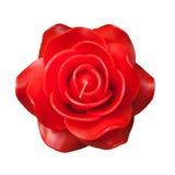 Una candela di rosa rossa su priorità bassa bianca Fotografia Stock