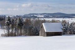 Una capanna della montagna nel paesaggio winterly alpino Fotografia Stock Libera da Diritti