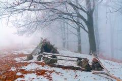 Una capanna fatta dalle foglie e dai rami fotografia stock