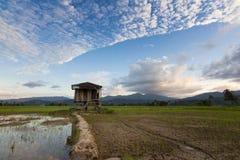 Una capanna su una risaia con formazione della nuvola Immagini Stock Libere da Diritti