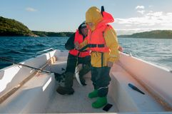 Una captura del viaje de la pesca con el faher Imágenes de archivo libres de regalías