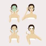 Una cara de la muchacha con la máscara y el maquillaje faciales imagenes de archivo