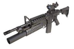Una carabina M4A1 fornita di lanciagranate M203 Immagine Stock Libera da Diritti