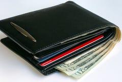 Una carpeta con unas $20 cuentas y algunas tarjetas de crédito Fotografía de archivo libre de regalías