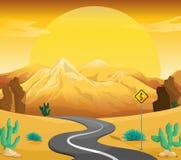 Una carretera con curvas en el desierto ilustración del vector