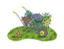 Una carretilla del jardín de flores se coloca por completo en un césped verde con un pequeño conejo stock de ilustración