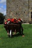 Una carretilla vieja por completo de flores hermosas Fotografía de archivo