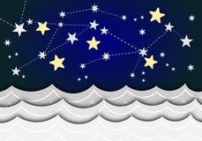 Una carta con le stelle e le onde del mare Fotografia Stock