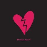 Una carta con un cuore rotto e un testo Fotografie Stock