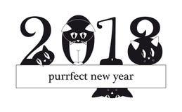 Una carta da 2018 nuovi anni con i gatti divertenti come cifre illustrazione di stock