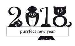 Una carta da 2018 nuovi anni con i gatti divertenti come cifre illustrazione vettoriale