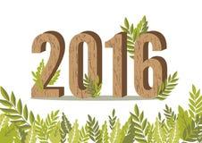 una carta di 2016 foglie, buon anno, illustrazione di vettore Fotografia Stock