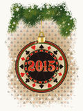 Una carta felice da 2015 nuovi anni con il chip di mazza del casinò Fotografia Stock Libera da Diritti