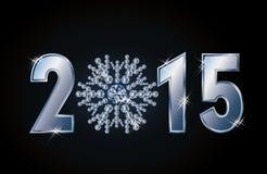 Una carta felice da 2015 nuovi anni con il fiocco di neve del diamante Fotografia Stock