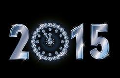 Una carta felice da 2015 nuovi anni con l'orologio di natale del diamante Fotografie Stock