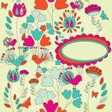 Una carta floreale con il posto per il vostro testo nella scatola ovale Fotografia Stock