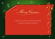 Una carta roja de la Navidad Fotos de archivo libres de regalías