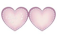 Una carta rosa delicata sotto forma di un cuore il giorno del biglietto di S. Valentino della st, il 14 febbraio Il cuore è fatto Immagini Stock
