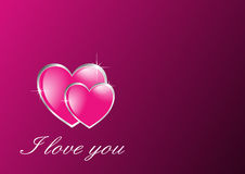 Una carta rosa di due cuori di amore Fotografia Stock