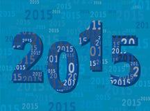 Una cartolina d'auguri 2015 del nuovo anno - cifre/numeri - blu moderno royalty illustrazione gratis