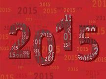 Una cartolina d'auguri 2015 del nuovo anno - cifre/numeri - moderna illustrazione di stock