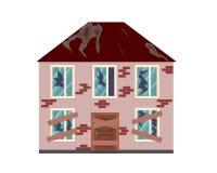 Una casa abandonada con las ventanas quebradas y las puertas subidas-para arriba Casa para la venta stock de ilustración