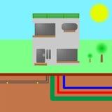 Una casa con le utilità: acqua, elettricità, fognatura, Internet Fotografie Stock Libere da Diritti