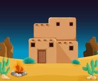 Una casa de adobe en el desierto ilustración del vector