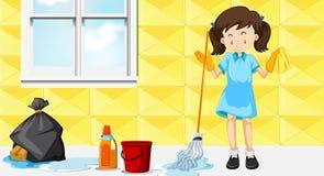 Una casa de limpieza de la criada ilustración del vector