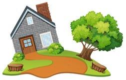 Una casa di pietra in natura illustrazione vettoriale