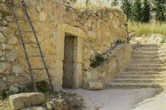 Una casa di pietra di retro stile in Nazareth Village Israel fotografia stock libera da diritti