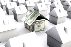 Una casa fatta dei dollari dei soldi, circondato da bianco Fotografia Stock