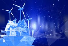 Una casa moderna e mulini a vento su un fondo blu illustrazione vettoriale