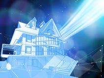 Una casa moderna en un fondo azul rodeado por las redes digitales stock de ilustración