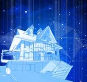 Una casa moderna su un fondo blu illustrazione di stock