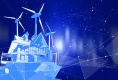 Una casa moderna y molinoes de viento en un fondo azul ilustración del vector