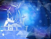 Una casa moderna y molinoes de viento en un fondo azul stock de ilustración