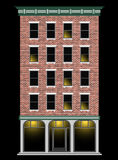 Una casa multipiana del mattone americano classico alla notte Centro di affari della città Real Estate costoso illustrazione vettoriale