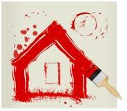 Una casa pintada roja stock de ilustración