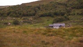Una casa sola nelle colline verdi dell'Irlanda stock footage