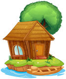Una casa su un'isola illustrazione vettoriale