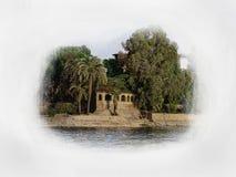 Una casa sulla sponda del fiume Immagine Stock
