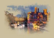 Una casa vieja con un puente en el Reino Unido Bosquejo de la acuarela Sepia Gráficos en el papel viejo Imagen de archivo