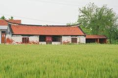Una casa y una tierra de cultivo chinas del pueblo fotos de archivo