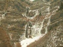 Una cascada congelada en barranco del invierno de Utah imagen de archivo libre de regalías
