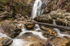 Una cascada fluye después de una lluvia en un barranco ocultado en una montaña imagen de archivo libre de regalías