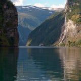 Una cascata delle sette sorelle al fiordo di Geiranger Immagini Stock Libere da Diritti
