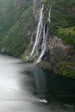 Una cascata di sette sorelle, Geirangerfjord Fotografie Stock Libere da Diritti