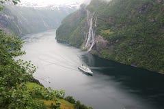 Una cascata di sette sorelle, Geirangerfjord Fotografia Stock Libera da Diritti